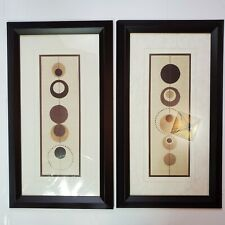 2 Framed Textile Fiber Art Wall Hanging Soothing Earth Tones Fabric Abstract