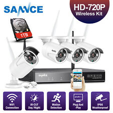 SANNCE 4ch NVR 1t HDD Video 1080p Security Camera System Indoor Outdoor Wireless