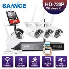 SANNCE 1080P 4CH Wireless P2P NVR w/1TB HDD 4x IR CUT Security Camera System APP