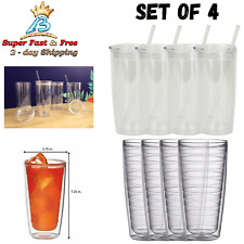 Insulated Clear Plastic Tumblers Set Of 4 For Smoothies Coffee Iced Tea Drinks