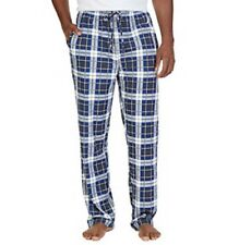 Nautica New Men's Cozy Plaid Fleece Pajama Pants, Marshmallow Blue/White, XL