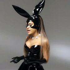 Sexy Black Latex Bunny Hood Rubber Mask For Catsuit Club Partr Holiday Wear