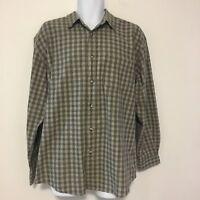 Aeropostale Mens Shirt Sz L Green Plaid Check Button Down Casual 100 Cotton AC43