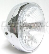 """Motorcycle Headlight 6-1/4"""" Chrome Shell Side Mount w/ Light Cafe Chopper Bobber"""