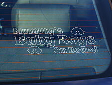 Static Cling Window Car Sign/Decal Mummys Baby Boys on Board 100 x 250mm
