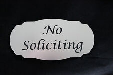 No Soliciting Sign Silver And Black Plastic Outdoor Plaque Engraved