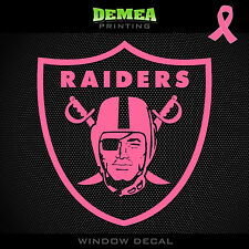 Raiders NFL -  Breast Cancer Awareness Pink Vinyl Sticker Decal 5""