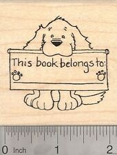 Dog Bookplate Rubber Stamp, This book belongs to J3703 WM