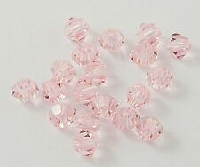 4mm  Crystal Glass Bicone Beads, Faceted, Misty Rose jewellery making 50pcs