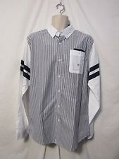 mens parish nation button shirt L nwt $62  navy pinstripe