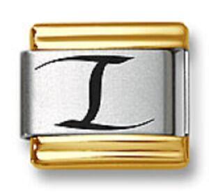 Italian Charm Bracelet Link Laser Initial Letter I Gold Trim Stainless Steel 9mm