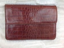 Vintage Saks Fifth Avenue Croc Emobossed Brown Leather Crossbody Clutch Purse