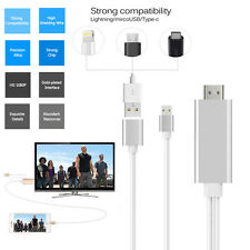 USB to HDMI HDTV HD Mirroring Adaptor Cable 3 in1 For Samsung S6 S7 Edge Silver