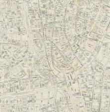Wallpaper Designer Vintage New York City Street Map Charcoal Gray on Beige