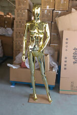Chrome Egghead Plastic Female Metallic Gold or Silver Mannequin with Glass Base