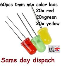 60 x Pcs 5mm Dia Round Assorted Colors LED Light Emitting Diodes Lamp DC 3V UK