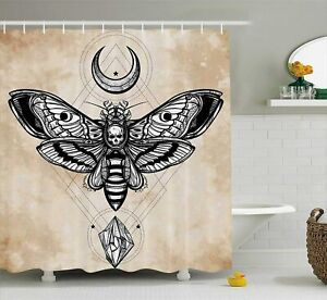 NEW Tan Black White Skull Head Moth Flying Bug Insect Magic Moon Shower Curtain