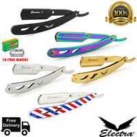 Professional Barber Cut Throat Straight Razor Shaving Stainless Steel +10 Blades