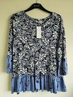 M&S PER UNA SIZES 14 OR 16 NAVY MIX FLORAL SOFT STRETCH TOP FREE POST
