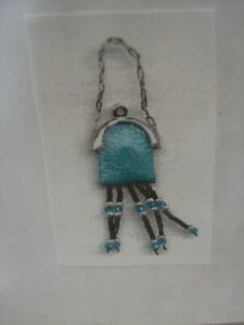 Dollhouse Miniatures Teal Leather Purse Kit with Strap and Beaded Fringe