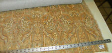 Tan Taupe Gold Print Chenille Upholstery Fabric 1 Yard R301