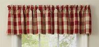 Valance Garnet Wicklow Red Tan Buffalo Check Curtain Park Designs Farmhouse