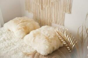 Sheepskin Pillow Natural Creamy White Real Sheepskin Decorative Cushion