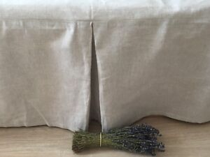 Tailored Linen Bed Skirt with Pleats in Natural Linen, White or Grey Colors