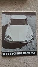 CITROEN ID 19 1969 DS CATALOGO DEPLIANT BROCHURE USA NOS