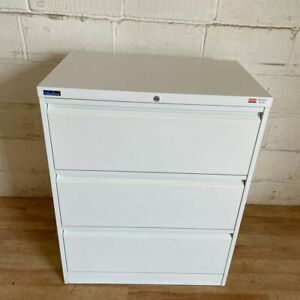 SILVERLINE Lateral 3dw Filing Cabinet 100cm White Cupboard Storage Office bisley