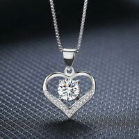 Heart Crystal Pendant 925 Sterling Silver Chain Necklace Womens Ladies Jewellery