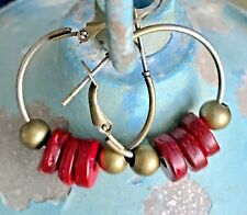 Bronze Lever Back Hoops with Red Wooden Bead Earrings. Boho Chic.