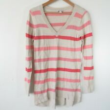 Gap Maternity Tan & Pink Striped Long Sleeve V-Neck Pull Over Sweater Women's S