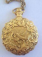 Vintage MAX FACTOR Pocket Watch Powder Compact Mirror Locket Necklace Pendant