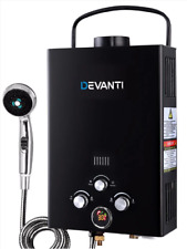 DEVANTi Portable Gas Water Heater Hot Shower Camping LPG Outdoor Instant 4WD Bla
