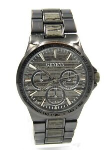 Geneva Men's Quartz Watch Gunmetal Wood Style Inlay JRY8190GU Stainles Steel