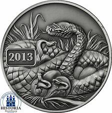 Tokelau 5 Dollars Silver 2013 Antique finish Silver Coin Lunar Series-Snake