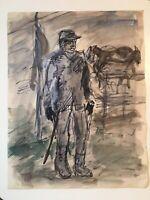 "Emil Hess Signed ""Civil War Soldier"" Original Watercolor 8"" x 10"""