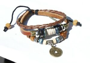 Women Vintage Money Coin  Adjust Bead Leather Ethnic Wristband Bracelet 6-10""