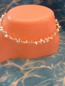 Natural MINI KEISHA PEARL ANKLET 10 Inches Sterling Silver Lobster Clasp