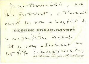 🌓 George Edgar-Bonnet (1881-1967)  CDV autographe signée Messageries Maritimes