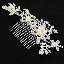 UK Silver Flower Crystal Pearl Hair Comb Clip Slide Bridal Wedding Hair Jewelry