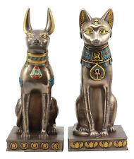 Egyptian Goddess Bastet And God Anubis Sitting On Pedestal Statue Set Of 2