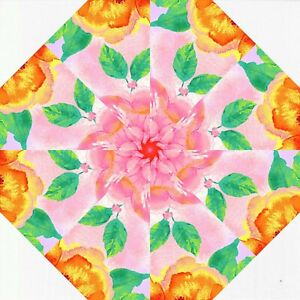 "RAIN BLOSSOM 4-6"" Kaleidoscope Quilting Pre Cut Block Kit / Stack n Whack"