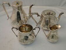 Victorian 4 Piece Tea & Coffee Set Silver Plated Engraved Garoon Border Rounded