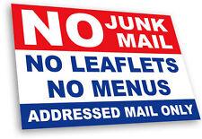 No Junk Mail Front Door Sticker Sign -Stop Menus Leaflets Letterbox UV Laminated