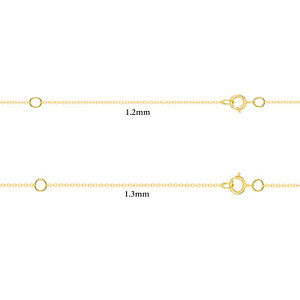 14k Yellow Gold-Filled Flat Cable Chain Necklace 16 Inches + 2 Extension Jewelr