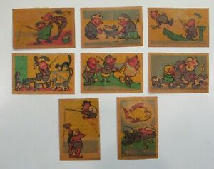 RUSSIA - FISHING - Poster Cinderella Stamp Lot of 8 1950-60 COLOR PROOF DRAWINGS