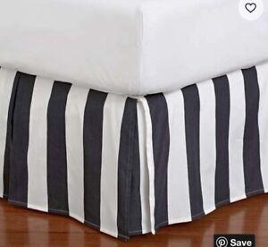 Pottery Barn Teen Emily Meritt Circus Stripe Black and White Bedskirt Queen
