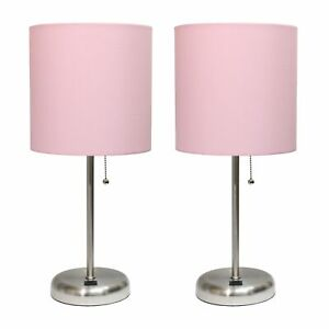 Stick Lamp with USB charging port and Fabric Shade 2 Pack Set, Light Pink